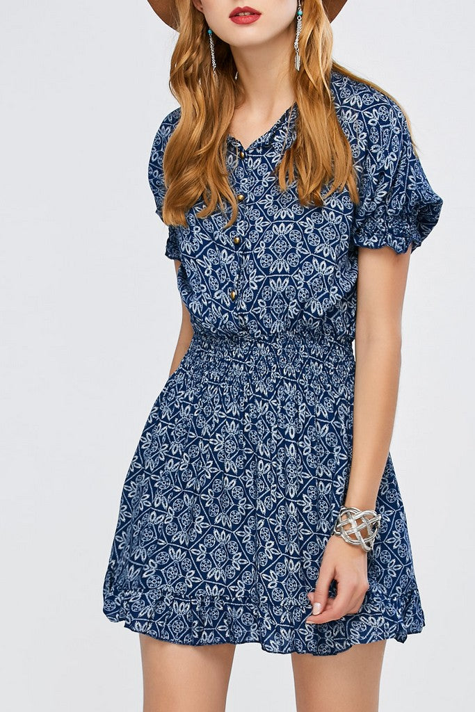 Blue Day A-line Crewneck Juliet Short Sleeve Short Printed Dress - Dresses