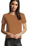 Brown Сocktail or Day Crewneck Short Sleeve Basic Summer T-shirt - T-Shirts