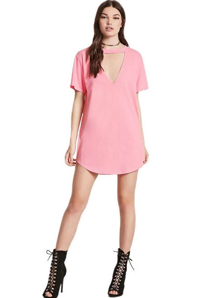 Pink Party V-neck Short Sleeve Long T-Shirt - T-Shirts