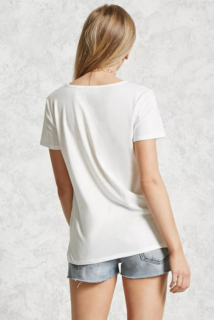 White Basic Crewneck Short Sleeve Summer Day T-shirt - T-Shirts