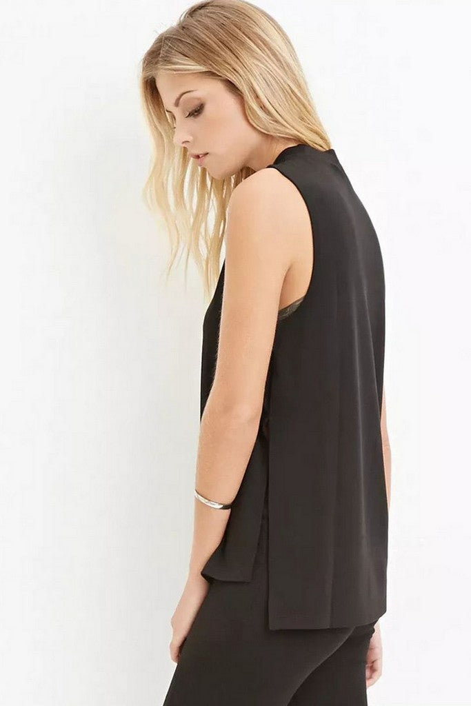 Black Office Jewel Sleeveless Elegant Classic T-shirt - T-Shirts