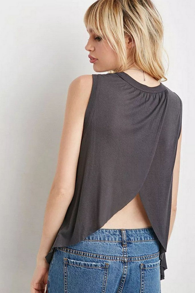 Gray Day Jewel Sleeveless Summer T-shirt - T-Shirts