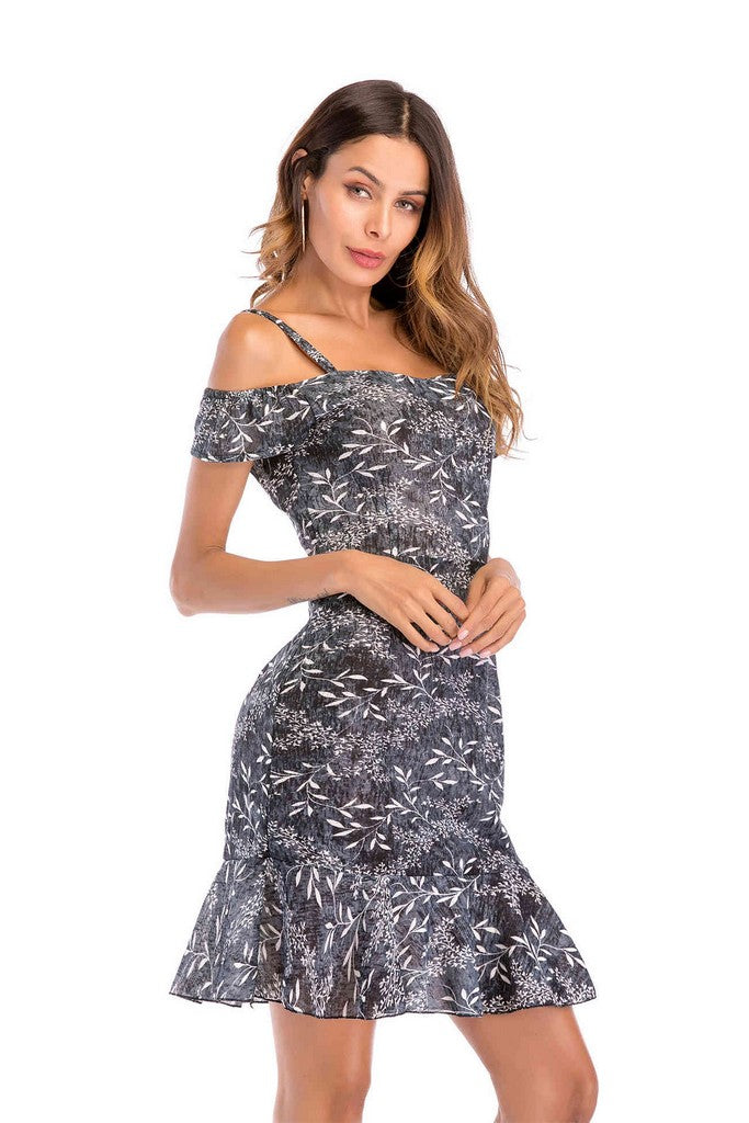 Gray Day A-line Off The Shoulder Strap Printed Short Ruffled Dress