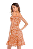 Orange Day A-line Off The Shoulder Strap Printed Short Ruffled Dress