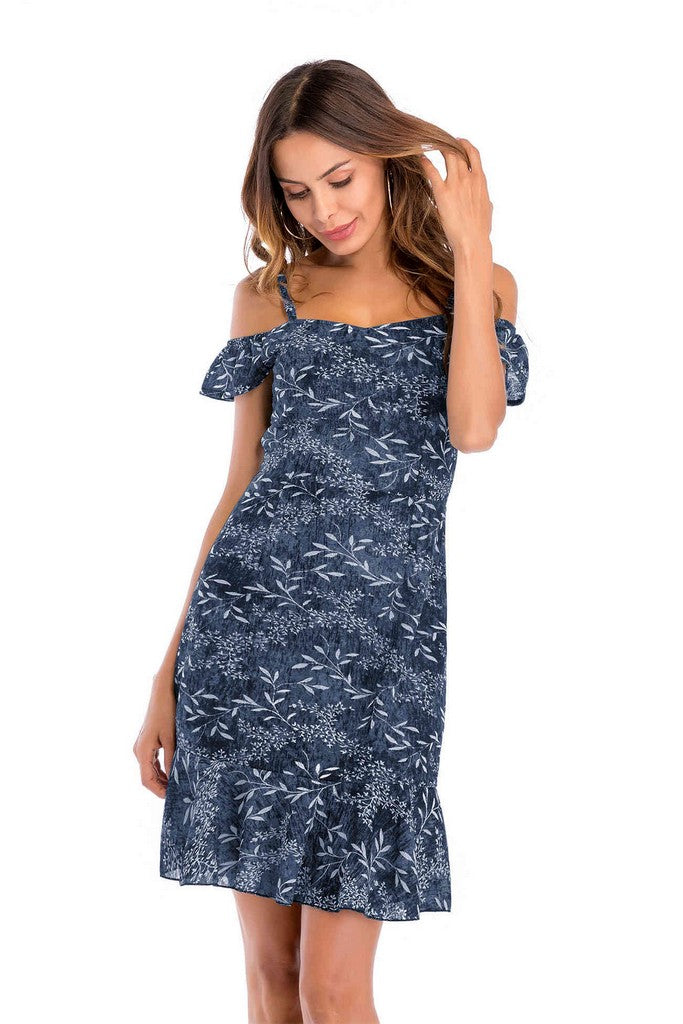 Blue Day A-line Off The Shoulder Strap Printed Short Ruffled Dress - Dresses