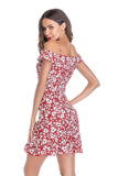 Red Day A-line Off The Shoulder Strap Printed Short Ruffled Dress