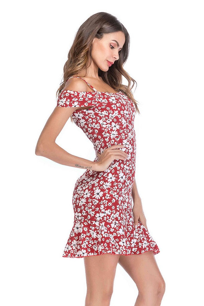 Red Day A-line Off The Shoulder Strap Printed Short Ruffled Dress - Dresses