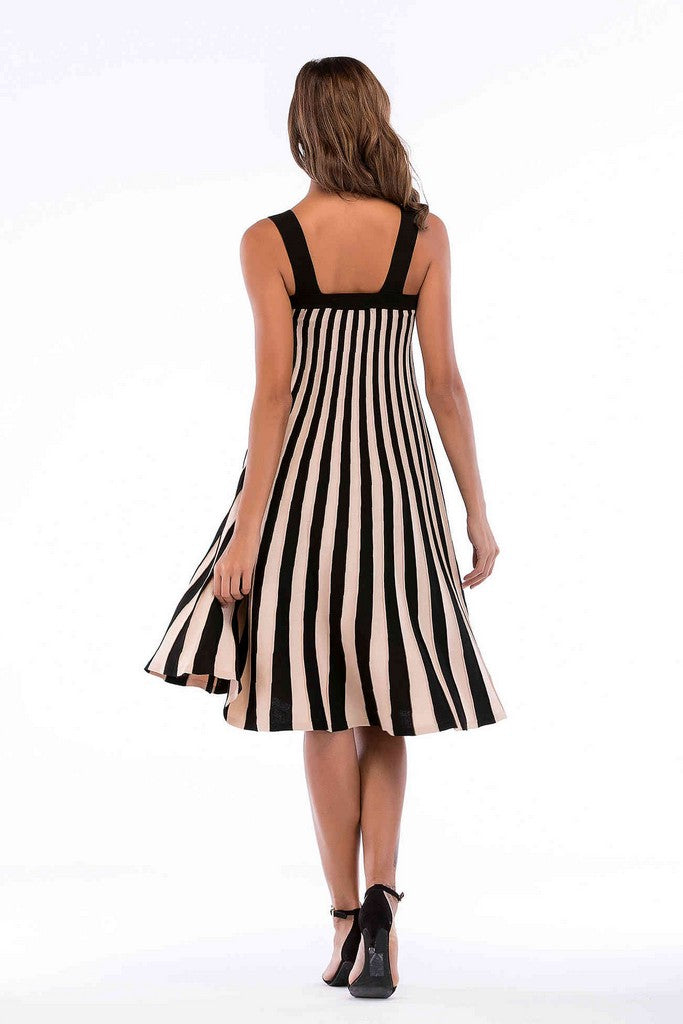 Black White Day A-line Strap Striped Knee Summer Dress - Dresses