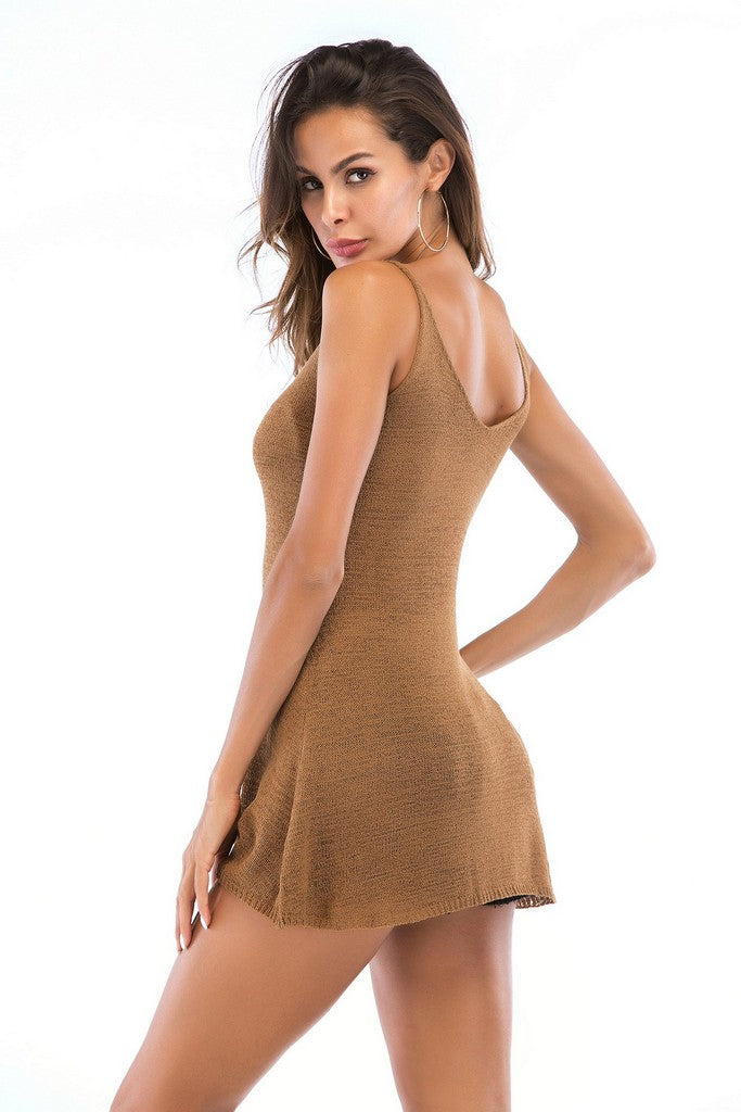Khaki Day Crewneck Sleeveless Long Summer Basic Tank-top - Tops