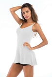 White Day Crewneck Sleeveless Long Summer Basic Tank-top - Tops