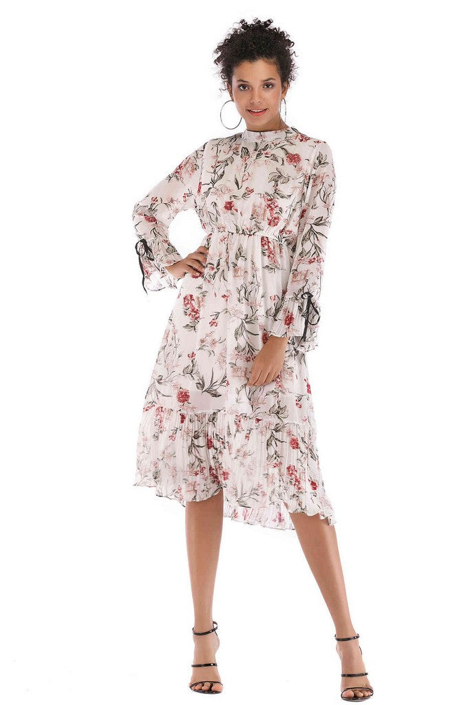 White Сocktail A-line High Neck Long Sleeve Poet Printed Midi Ruffled Dress