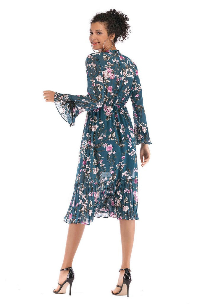 Blue Сocktail A-line High Neck Long Sleeve Poet Printed Midi Ruffled Dress