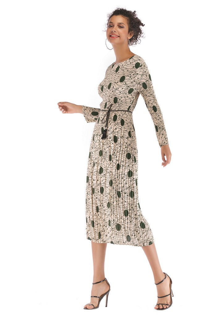 Apricot Day A-line Crewneck Long Sleeve Midi Pleated Printed Dress - Dresses