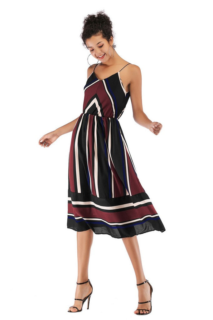 Burgundy Multicolor Day A-line Strap Sleeveless Striped Midi Summer Dress