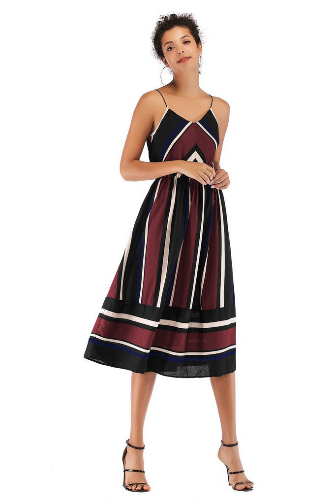 Burgundy Multicolor Day A-line Strap Sleeveless Striped Midi Summer Dress - Dresses