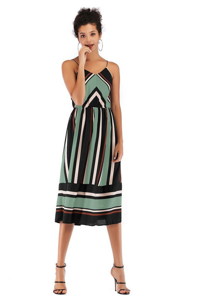 Pale green Multicolor Day A-line Strap Sleeveless Striped Midi Summer Dress - Dresses