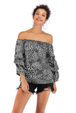 Green Leopard Print Party Layered 3/4 Sleeve Printed Short Blouse-Top - Blouses