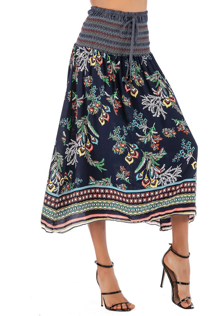 Navy Day A-line Skirt Straight Across Neck Sleeveless Printed Knee Summer Dress