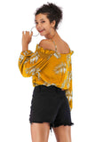 Yellow Day Off The Shoulder Bishop Long Sleeve Printed Blouse - Blouses