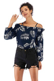 Navy Day Off The Shoulder Bishop Long Sleeve Printed Blouse - Blouses