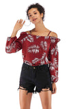 Wine Red Day Off The Shoulder Bishop Long Sleeve Printed Blouse - Blouses