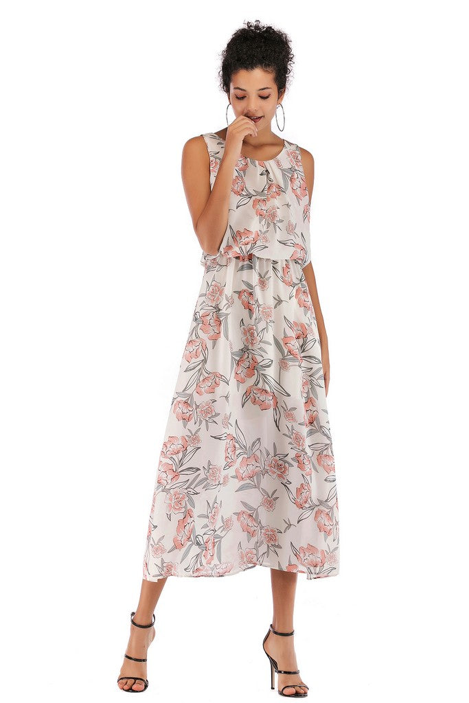 White Day Tent Crewneck Sleeveless Maxi Printed Dress - Dresses