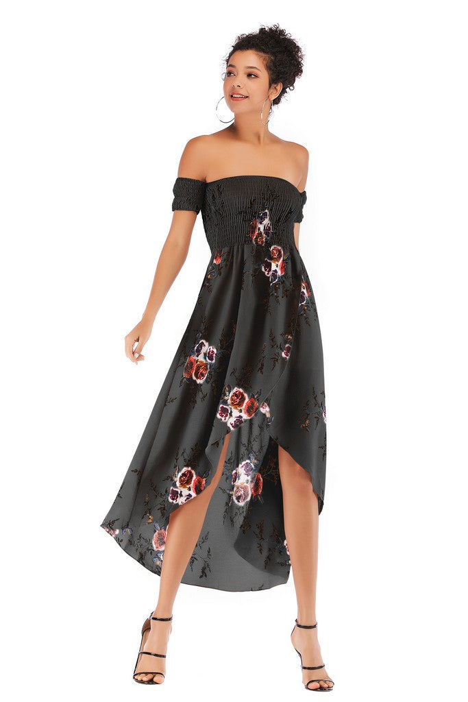 Black Evening A-line Off The Shoulder Short Sleeve Asymmetric Tea Printed Dress - Dresses