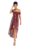 Wine Red Evening A-line Off The Shoulder Short Sleeve Asymmetric Tea Skirt Printed Dress