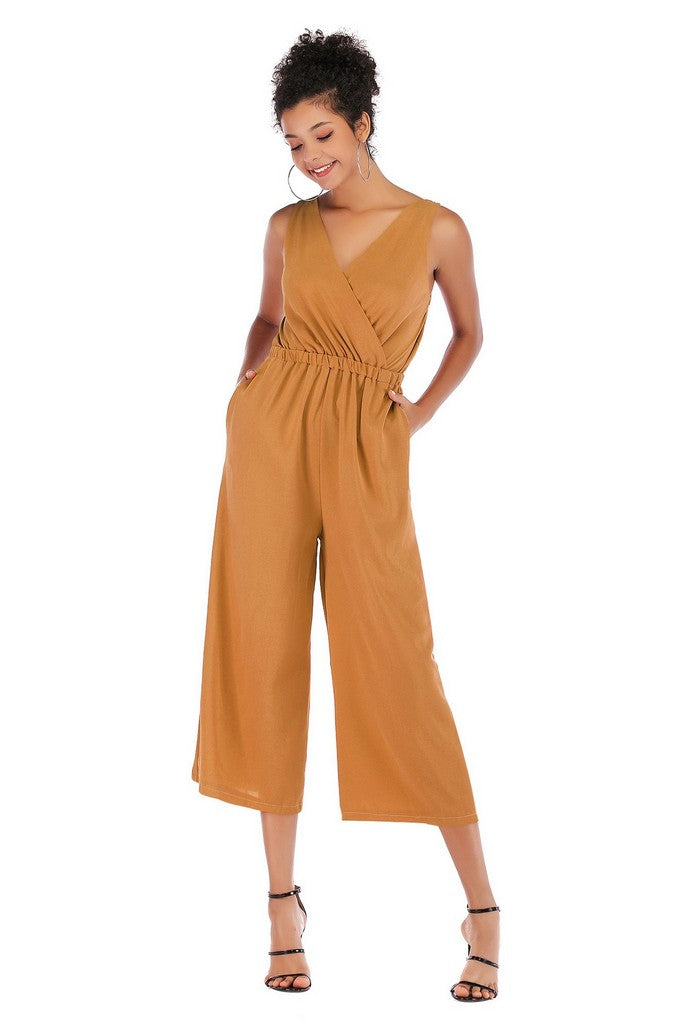Yellow Day Сocktail Wrap V-neck Jumpsuit with Pockets - Jumpsuits