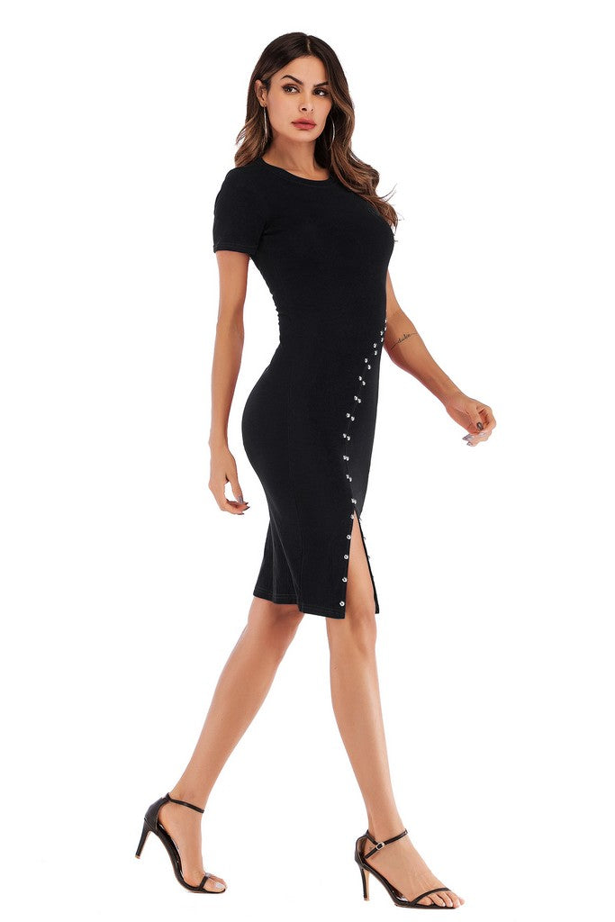 Black Day Bodycon Crewneck Short Sleeve Above Knee Dress - Dresses