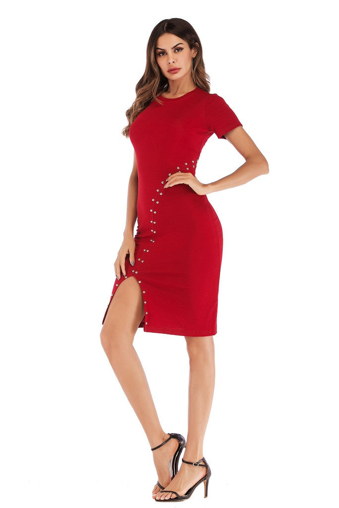 Wine Red Day Bodycon Crewneck Short Sleeve Above Knee Dress - Dresses