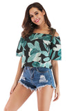 Black Green Print Day Off The Shoulder Strap Printed Summer T-shirt - T-Shirts