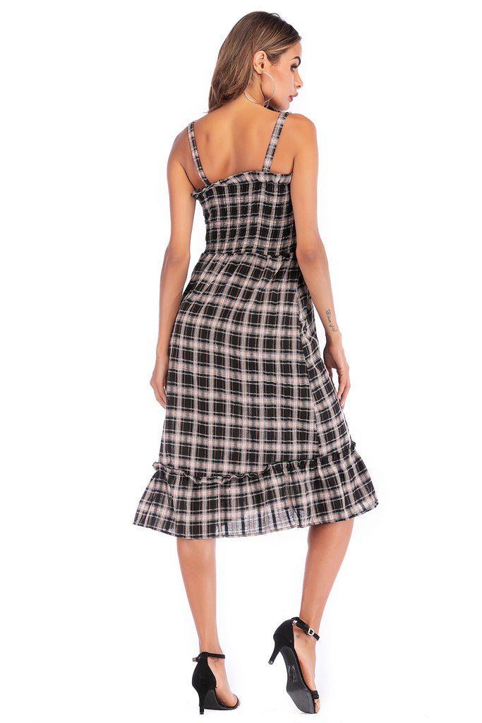 Black White Orange Day A-line Strap Ruffled Checkered Below Knee Dress - Dresses