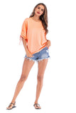 Apricot Day Party Elbow Sleeve Summer T-shirt - T-Shirts