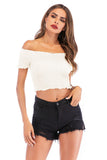 White Day Party Summer Off The Shoulder Short Sleeve Short Top - Tops