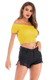 Yellow Day Party Summer Off The Shoulder Short Sleeve Short Top - Tops