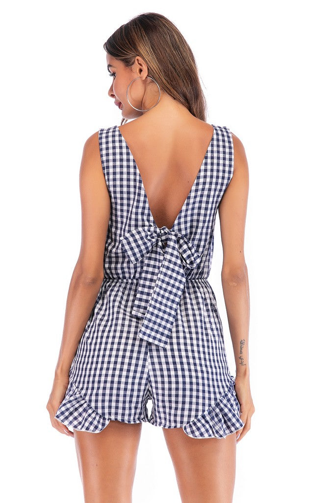 Blue White Cell Day Summer V-neck Sleeveless Checkered Short Ruffled Jumpsuit - Jumpsuits