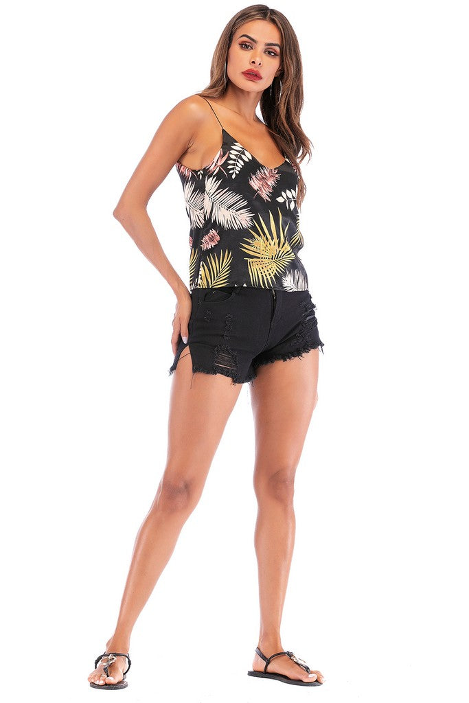 Black Multicolor Floral Printed Day Strap Summer Top - Tops