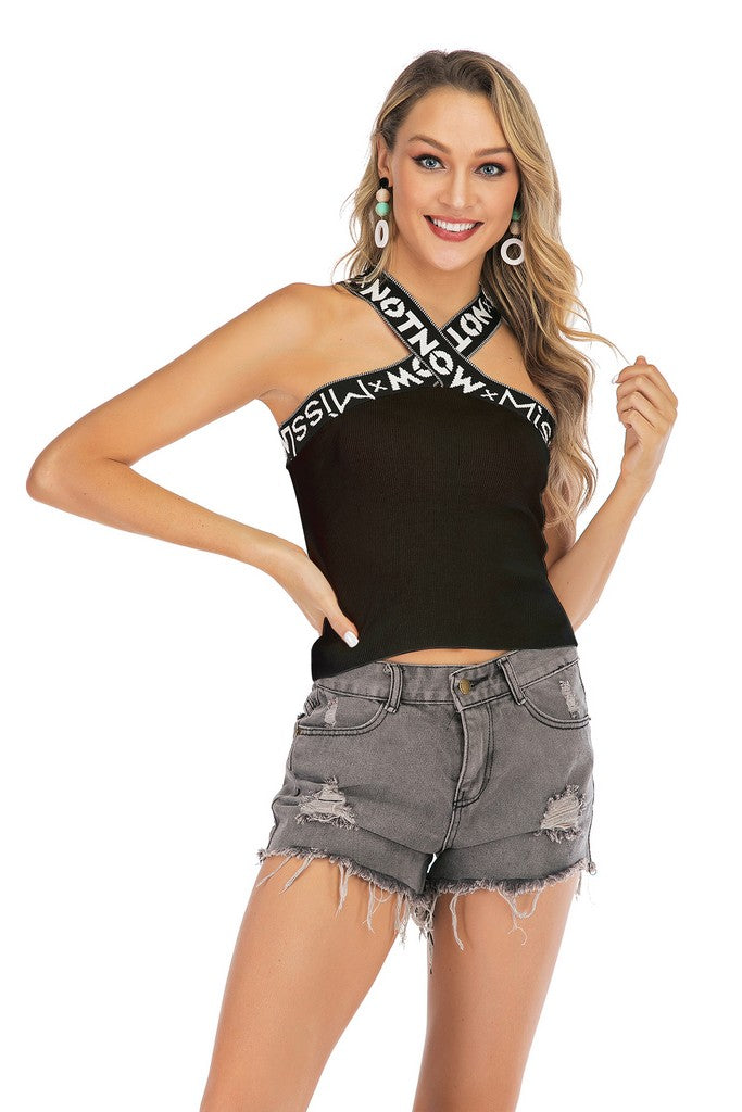 Black Сocktail Party Straight Across Neck X Cross Backneck Summer Top - Tops