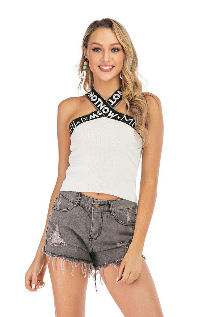 White Сocktail Party Straight Across Neck X Cross Backneck Summer Top - Tops