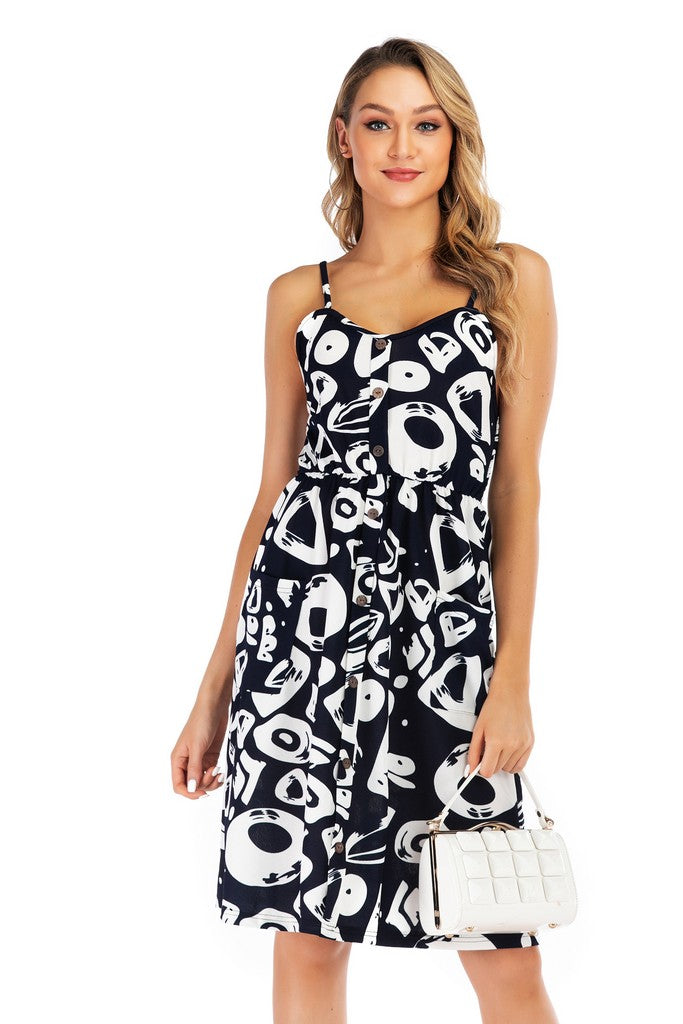 Blue Day A-line Strap Knee Printed Summer Dress with Pockets - Dresses
