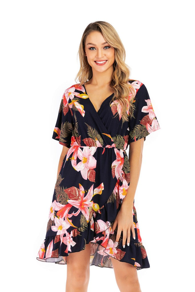 Navy Day Wrapped V-neck Short Sleeve Printed Knee Ruffled Summer Dress - Dresses