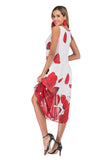 White Red Evening Tent Crewneck Sleeveless Tea Printed Dress - Dresses