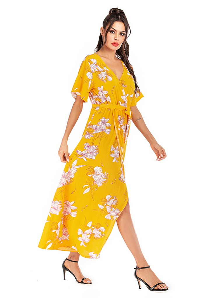 Yellow Day Wrapped V-neck Short Sleeve Tea Printed Dress with Belt - Dresses