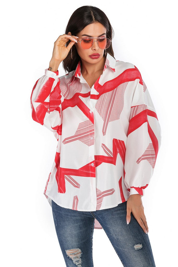 White Red Day Office Shirt Colar Bishop Long Sleeve Printed Elegant Shirt - Shirts