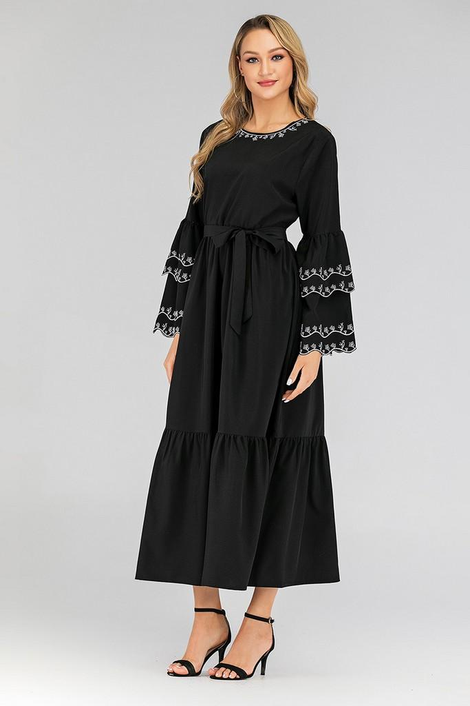 Black Maxi Day Dress - Dresses