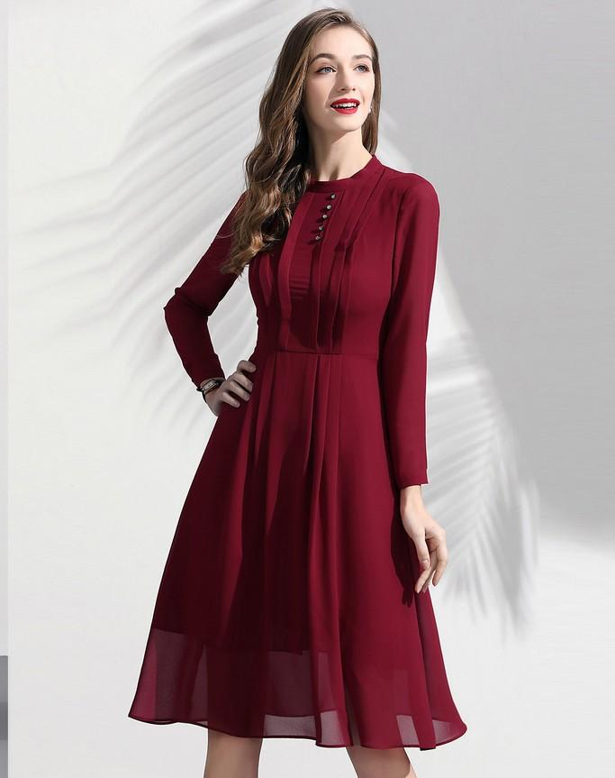 Wine Red Evening Dress - Dresses