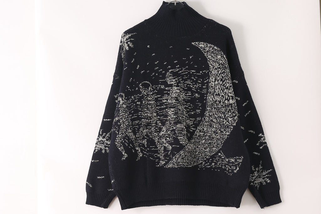 Printed Black Pullover - Pullovers