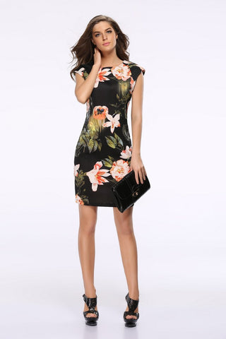 Day Jewel Neckline Drop Shouled Floral Printed Black Above Knee Dress