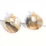 Gold & Beige & Multicolor Earring - Earrings